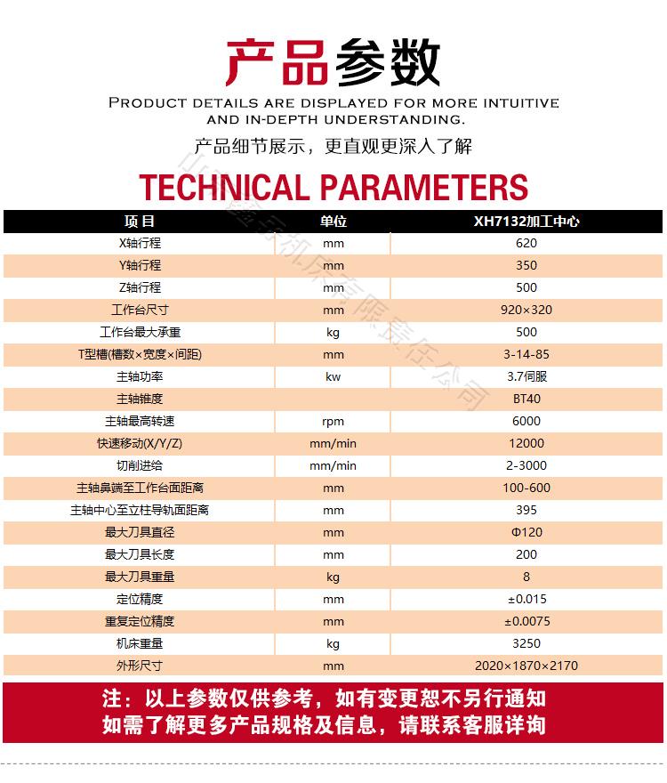 XH7132数kong铣床技术参数
